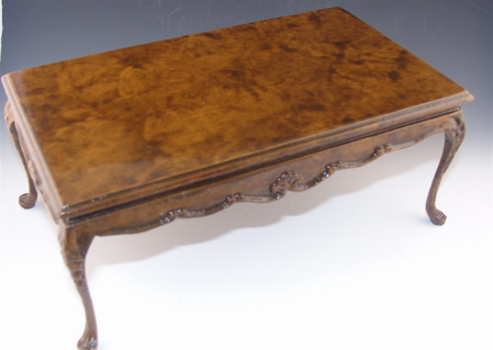 Burled Walnut Traditional Dining Table - Click Image to Close